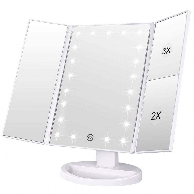 Vouw Led Verlichte Hollywood Vanity Make-Up Schoonheid Cosmetische Touch Screen Make-Up Spiegel Met Licht