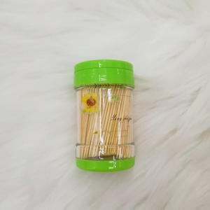 Portable sharpener stick disposable appetizer tooth pick bamboo wooden toothpicks with wrapped pp can holder