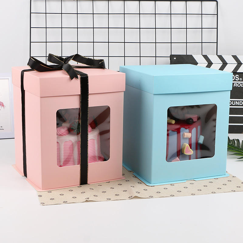 Factory price wholesale custom size logo christmas cake boxes PET cake box with clear window