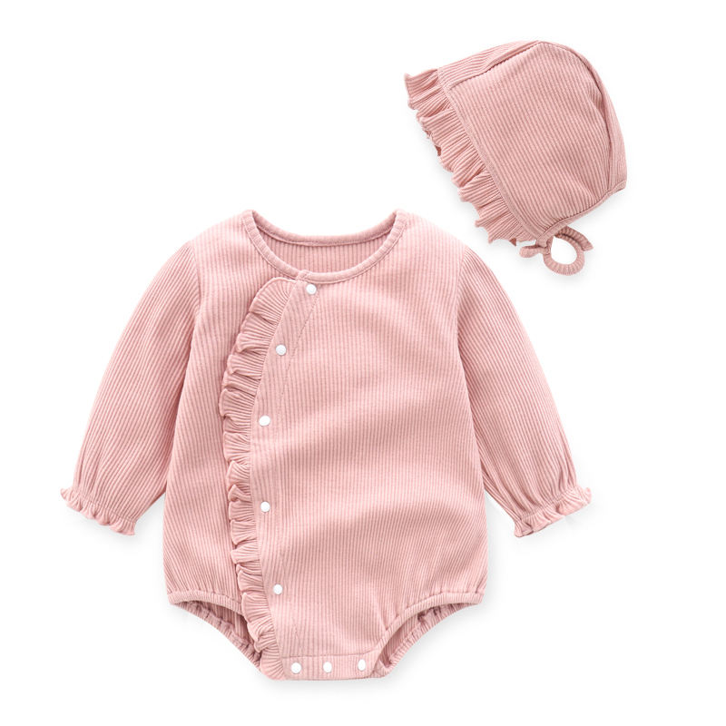 ODM/OEM spring and autumn baby romper stretch striped cotton newborn girl baby suit 3 colors 0-12 months clothing baby