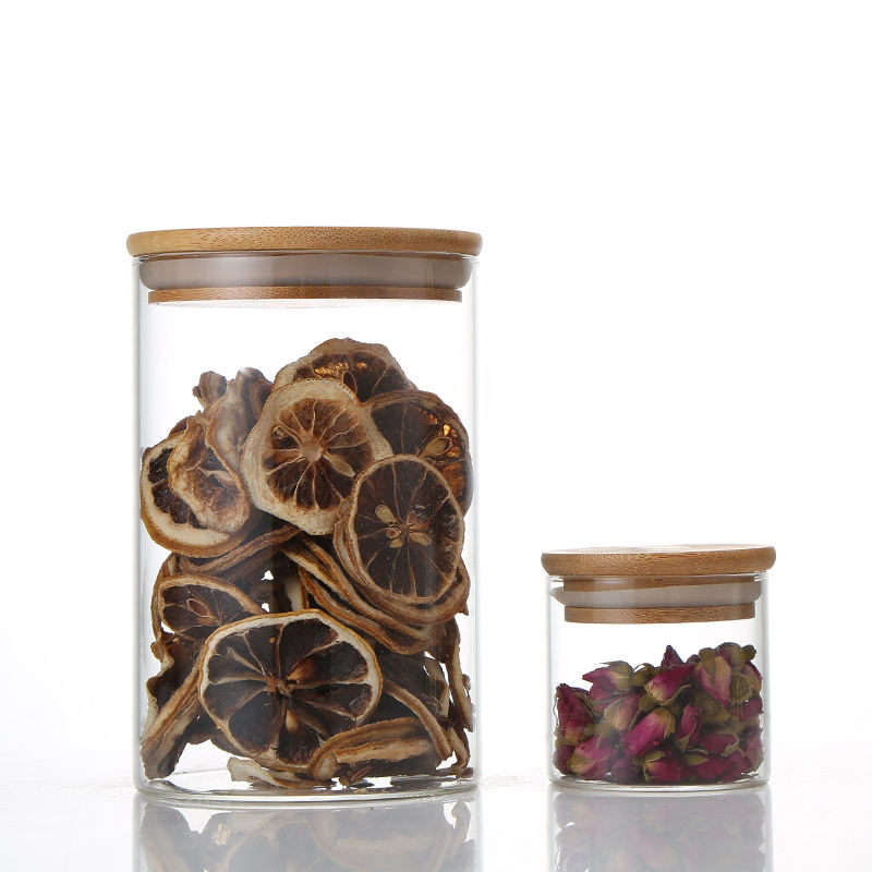 Top Quality Cheap Glass Storage Jars With Sealed Bamboo Lids Storage Jar Bamboo