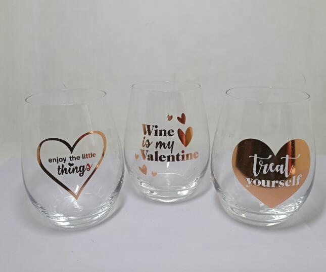 custom personalized rose gold logo wine glasses tumbler stemless wine glass