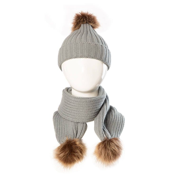 Top sale guaranteed quality winter baby knit beanie pom hat acrylic kid hat and scarf set