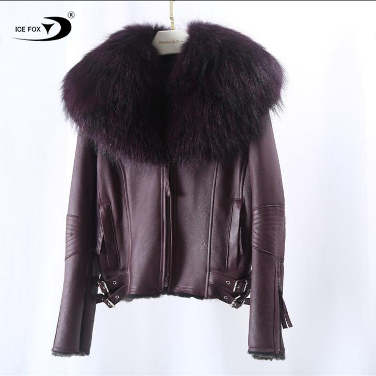 New style leather coat women fur collar wholesale custom leather coat fur trim high quality womens genuine leather coat