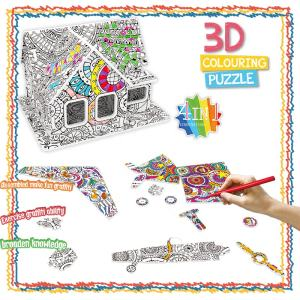 Amazon hot selling doodle animals dinosaurs airplanes houses painting sets children's DIY 3D puzzles