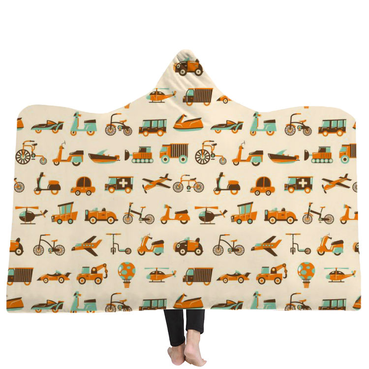 SSC Retro Muti Transport Car Tool Printing Hooded Blanket Microfiber For Adults Kids Retro Style Sherpa Fleece Wearable Blanket