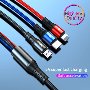 2020 wholesale on stock 3 in 1 super charge data cable 3 in 1 usb c micro charging cable phone accessories micro usb cable