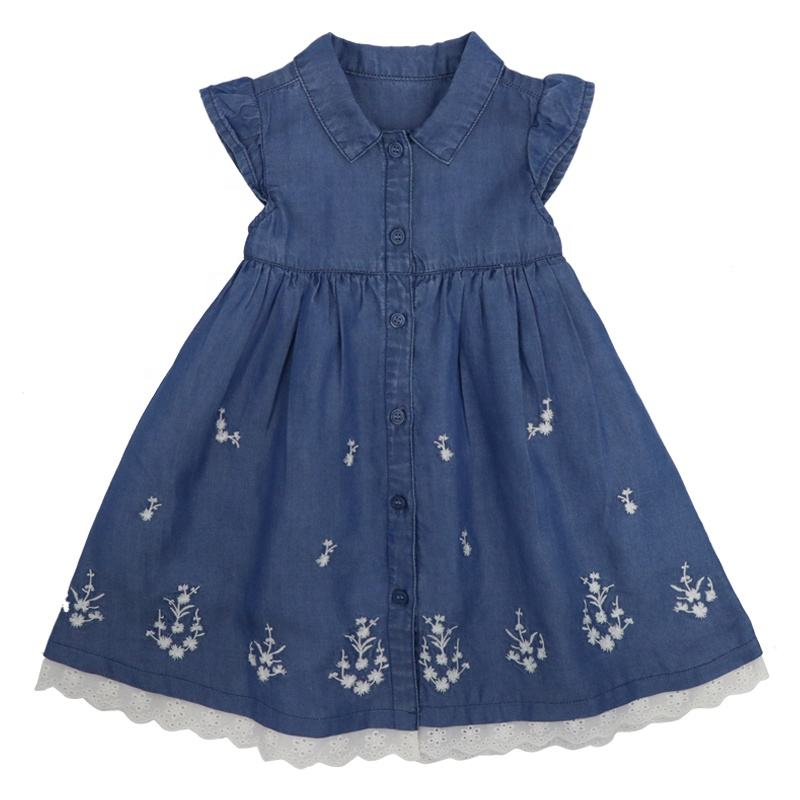 New Style Designs Fancy Fashion European Summer Party Wear Princess Clothes Beautiful Model Jeans Baby Girl Denim Dress For Kids