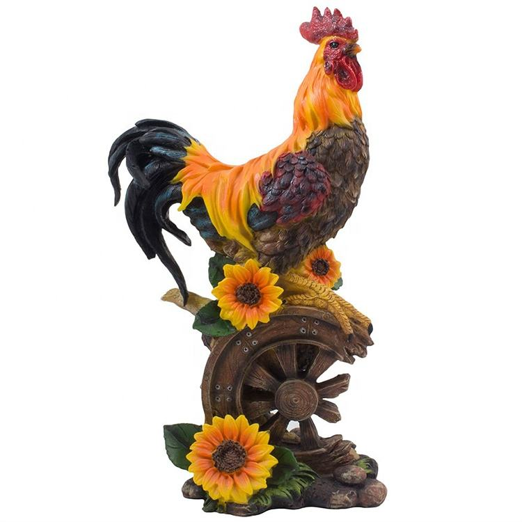 Garden decoration resin farm animal gifts chicken sculpture on wagon wheel rooster decor with sunflower#