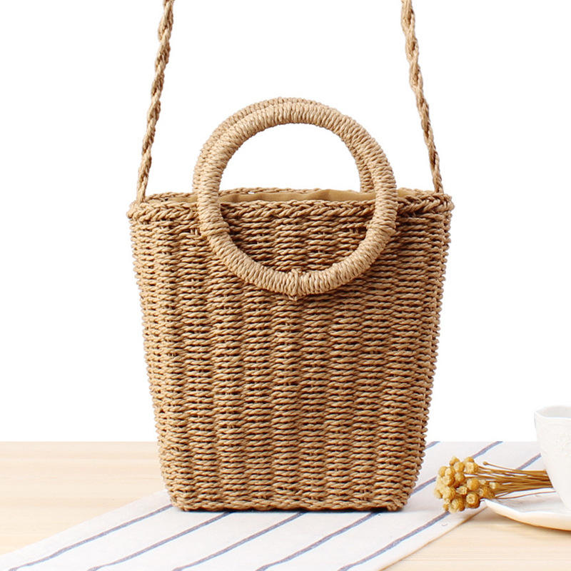 New small fresh hand carry crossbody dual-use woven bag ins holiday beach straw bag female paper bag