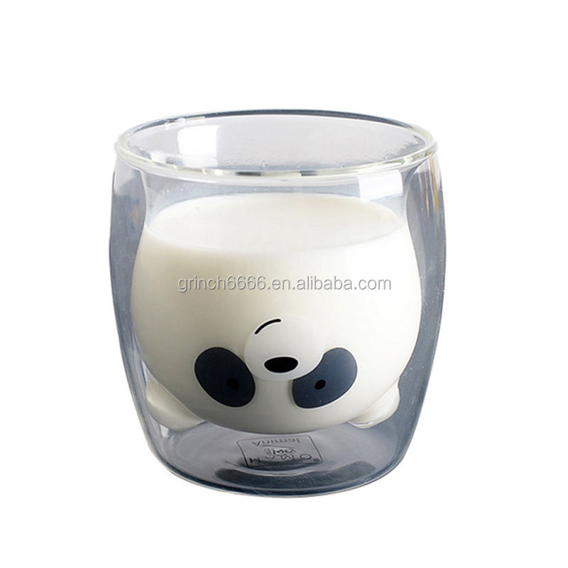Amazing Panda Bear Double Wall Glass Cup Creative Morning Milk Glass Heat Resistant Mug Shot Glass