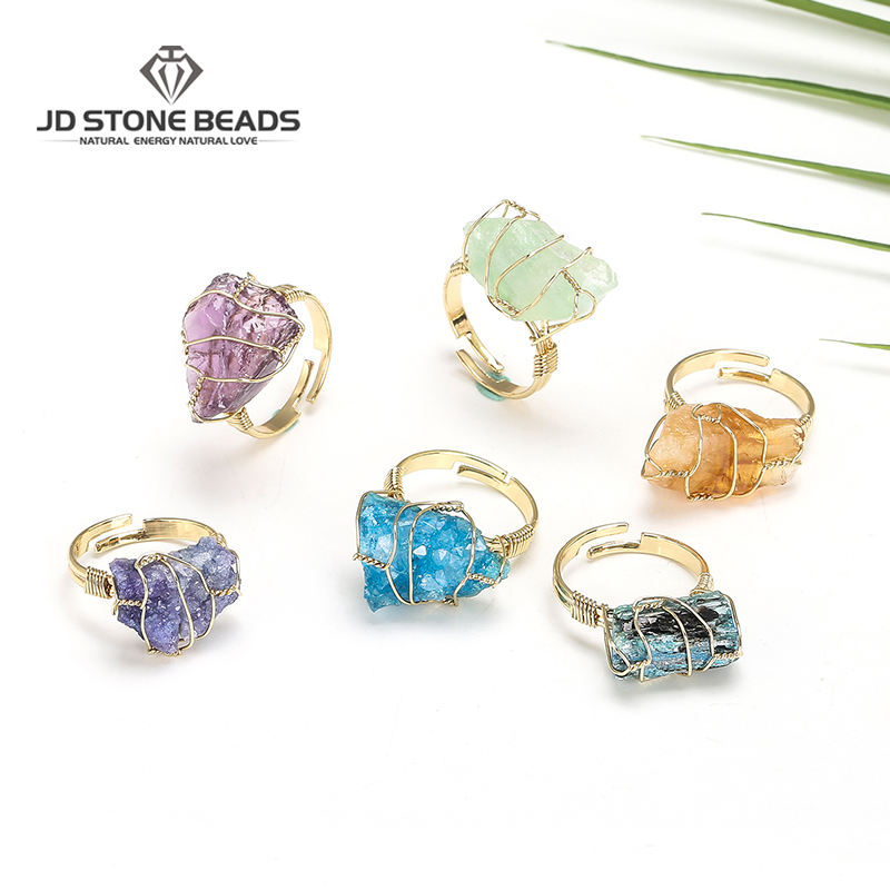 JD Natural Stone Irregular Wire Wrap Women Rings Healing Rough Gemstone Jewelry Fluorite Fashion Finger Ring Unique Jewelry