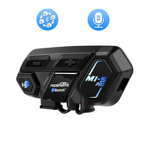 Fodsports 2KM Bluetooth 1pc M1-S Pro Moto Bicycle Motorcycle Helmet Headset Intercom For 8 Riders Group Talking
