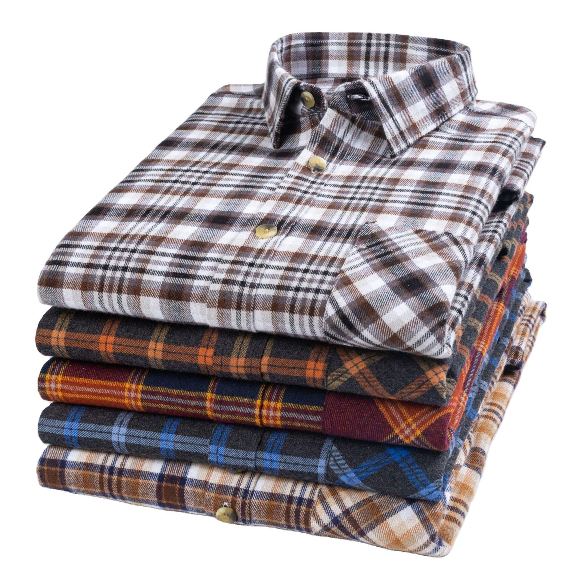 Color Optional Casual 100 Cotton Long Sleeve Wholesale Check Flannel Shirts For Men