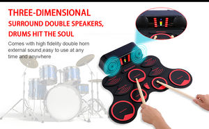 Midi usb roll up drum kit instrumentos musicais drum set com microfone