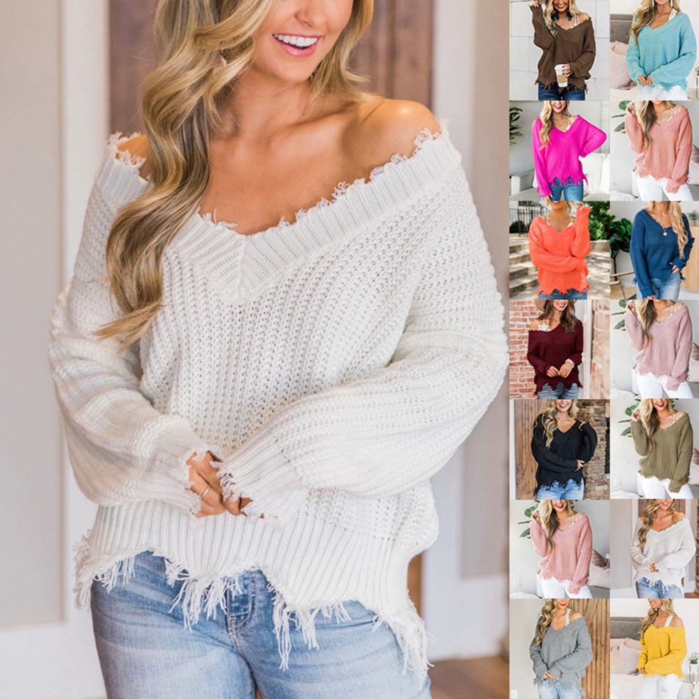 Women's Solid Color Sweater Knitted Irregular Sweater V Neck Loose Off Shoulder Top Wild Casual Sweater