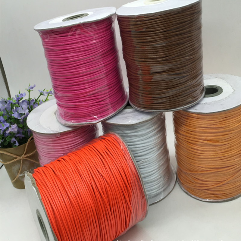 wholesale all size colorful flat round waxed cotton cord shoelace wax cord with tips TCWC01-10