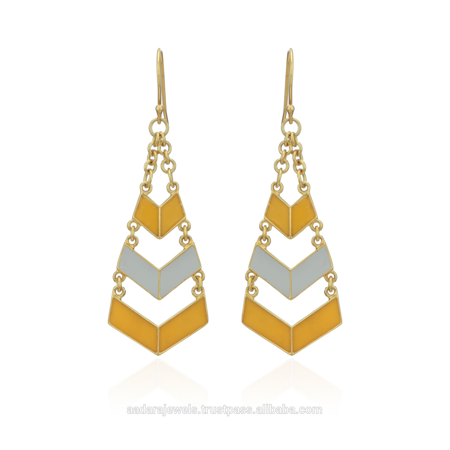 Arrow 925 Sterling Silver Enamel Yellow Flash Gold , White Rhodium, Rose Gold Designer Drop & Dangle Earrings