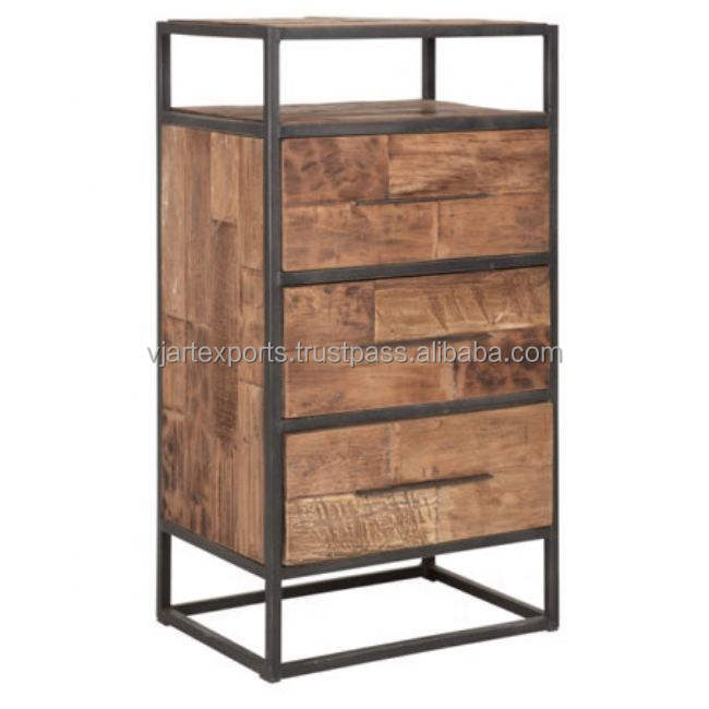 luxury adorable classic rustic wholesale product iron metal & old wood 3 drawers living room cabinet