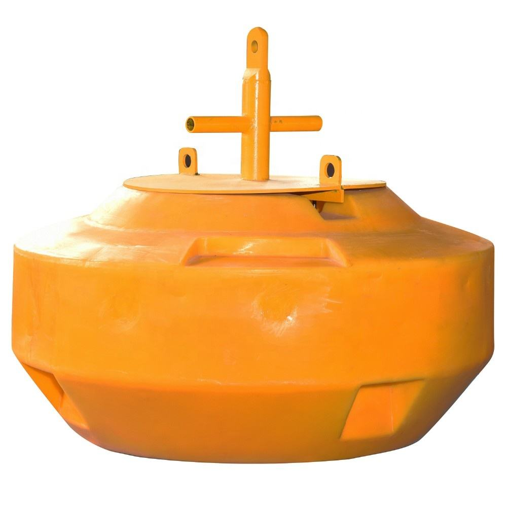 plastic Large yellow mooring buoys of the type used to moor large vessels in harbour