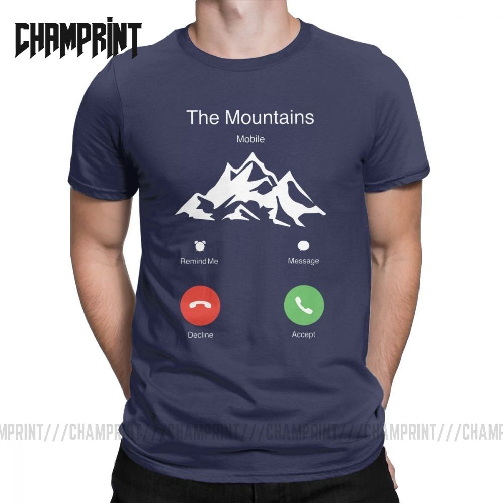 The Mountains Are Calling T Shirt Men 100% Cotton Vintage T-Shirt Pacific Northwest Hiking Outdoor Stay Wild Tee Clothes Graphic