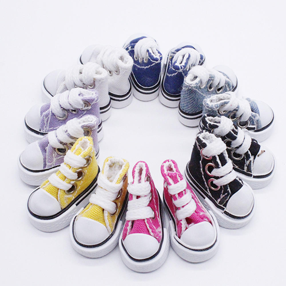BJD Doll Dress Up Canvas Shoes Doll Casual Flat Shoes Toy 3.5cm Doll Strap Canvas Shoes Accessories