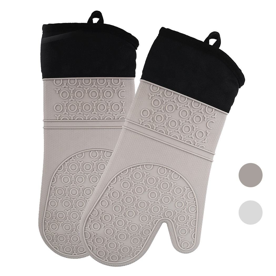Heat-Resistance Silicone Rubber Bakery Oven Gloves Extra Long Oven Mitt For Kitchen Cooking BBQ