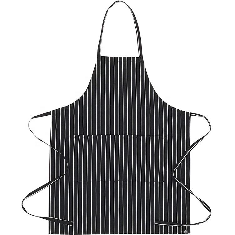 Factory Direct Printed Adjustable Stripe Cotton Polyester Kitchen Bib Chef Apron With Pocket