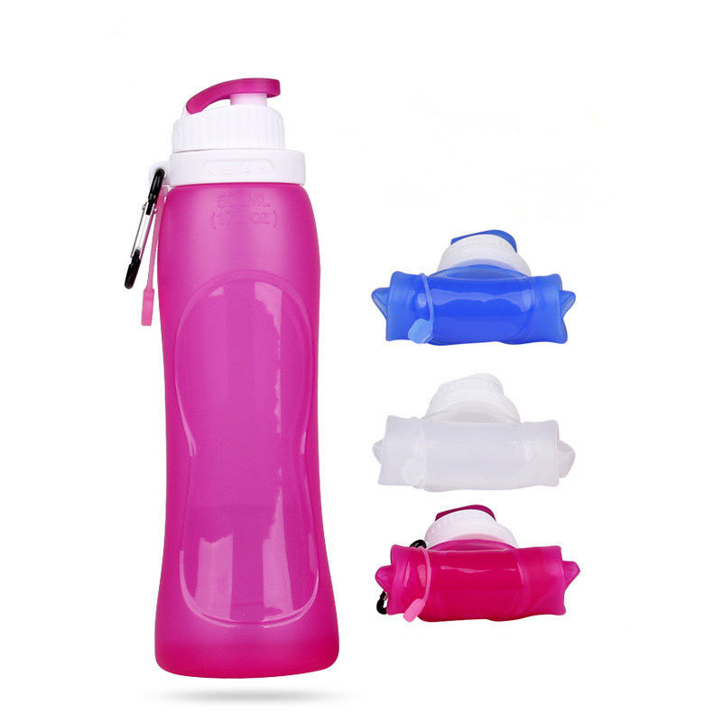 2020 wholesale chinese manufacture 500ml silicone folding water bottle travel portable folding cycling water bottle cups
