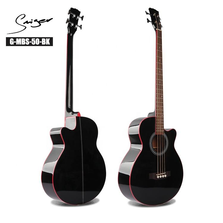 Wholesale Smiger 4 strings electric semi acoustic bass guitar black color
