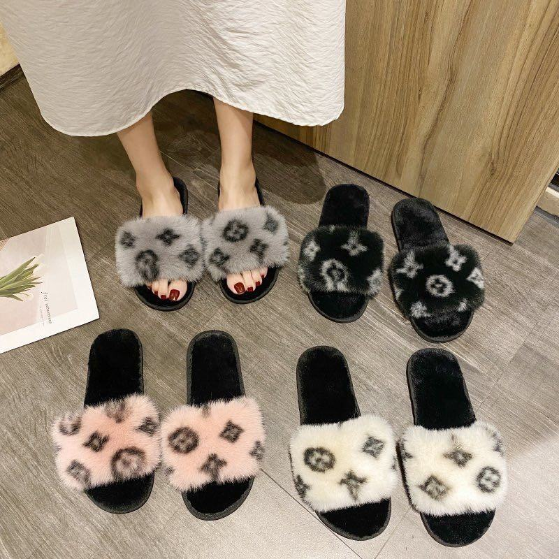 Black rose fashion Y wholesale cheap luxury branded personalized fancy fox fur slippers for girls