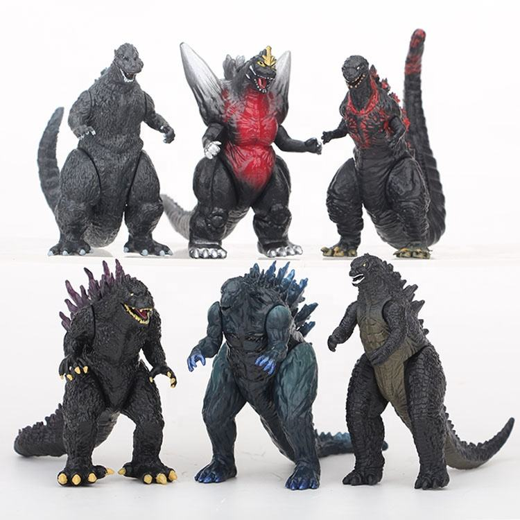 Gojira Godzilla 6pcs/set Pvc Figure Model Toys Hands Moveable collection wholesale gift