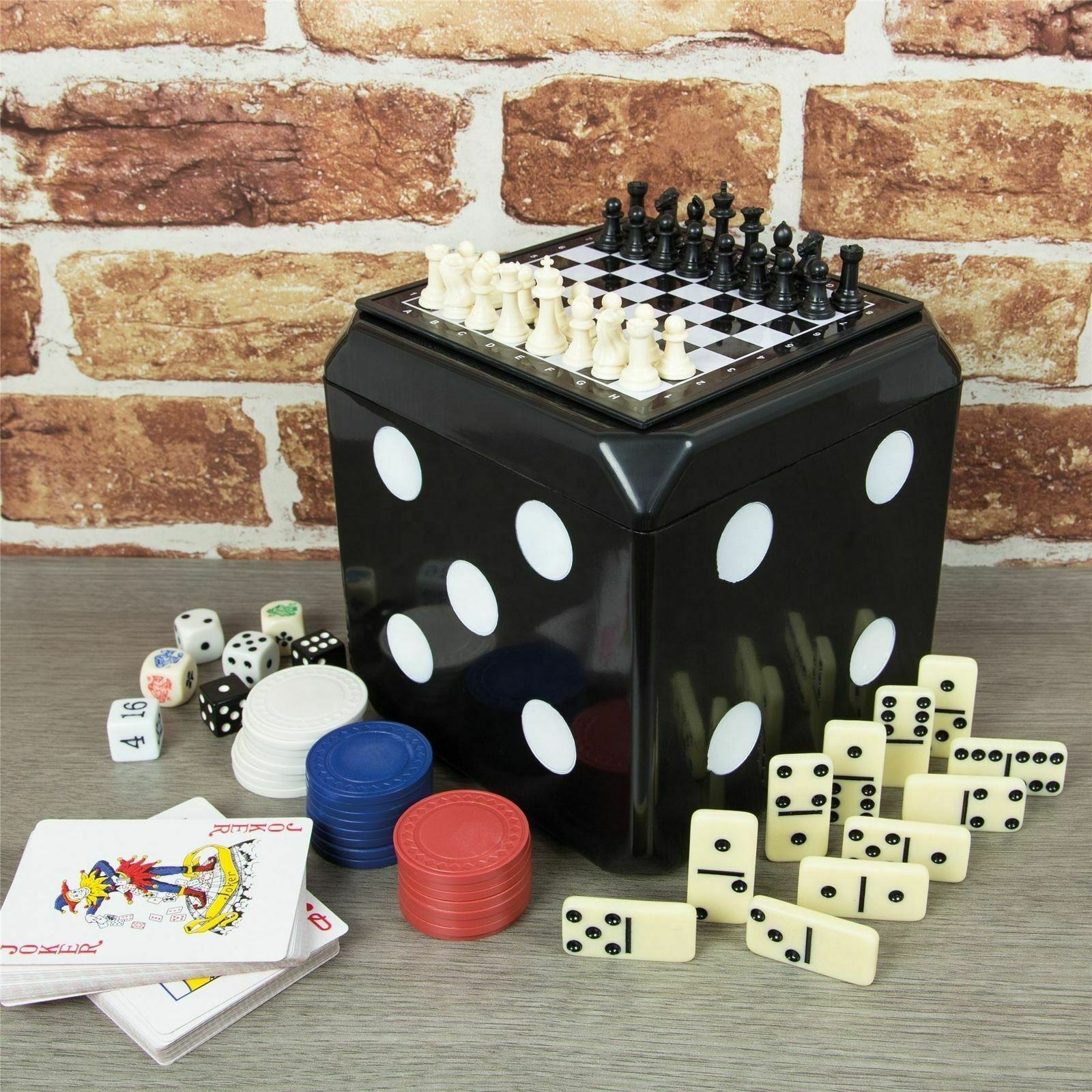 Multi Tafelblad Game-Schaken, Dammen, Backgammon,Poker Chips, Kaarten, domino Dobbelstenen Kubus Dobbelstenen Doos 6 In 1 Game Set