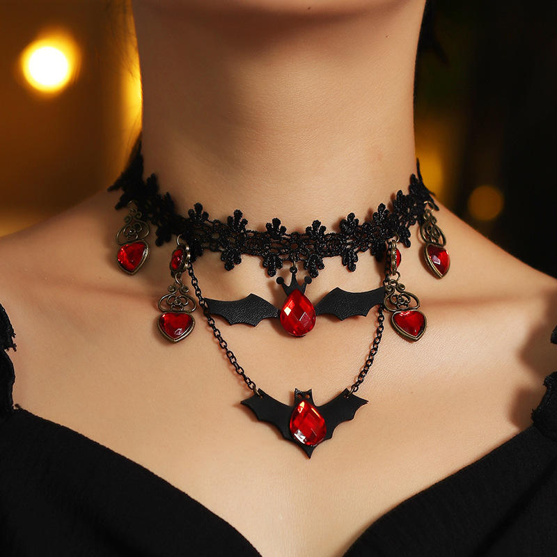 Newest Halloween Accessories Jewelry Black Lace Choker Necklace Ruby Crystal Pendant Bat Pattern Choker Necklace For Women