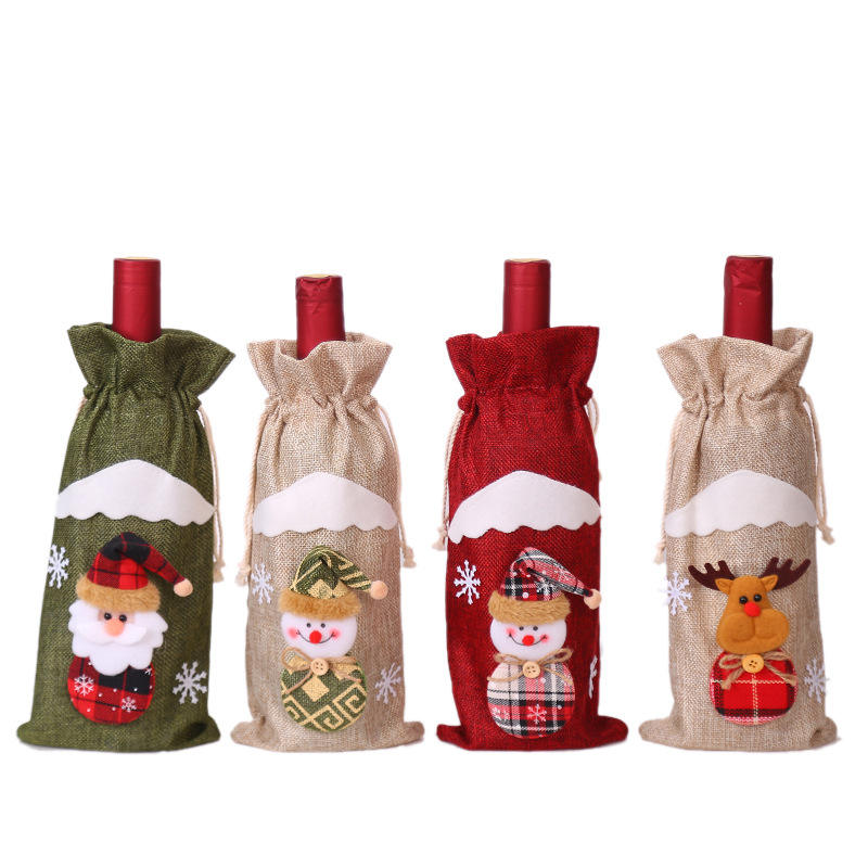 Christmas decoration supplies linen old man red bottles set wine bags holiday hotel decoration manufacturers direct sales