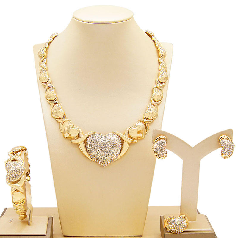 New Arriving Xoxo Big Jewelry Sets Bridal Gold Plated Jewelry Wholesale Stainless Steel Hug and Kiss I Love You Jewelry Set