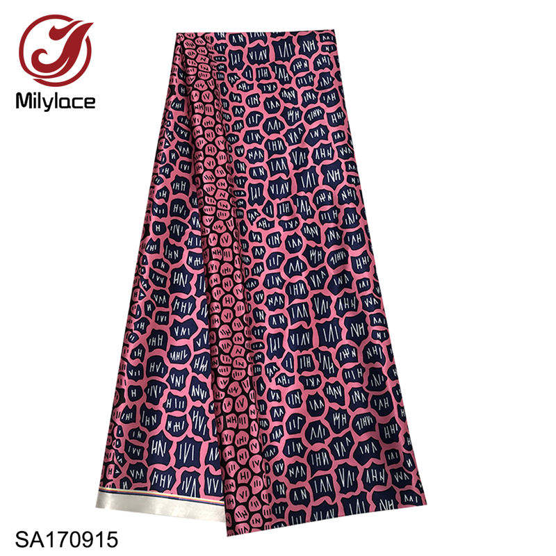 wholesale 100% polyester african wax digital printed satin fabric for dress
