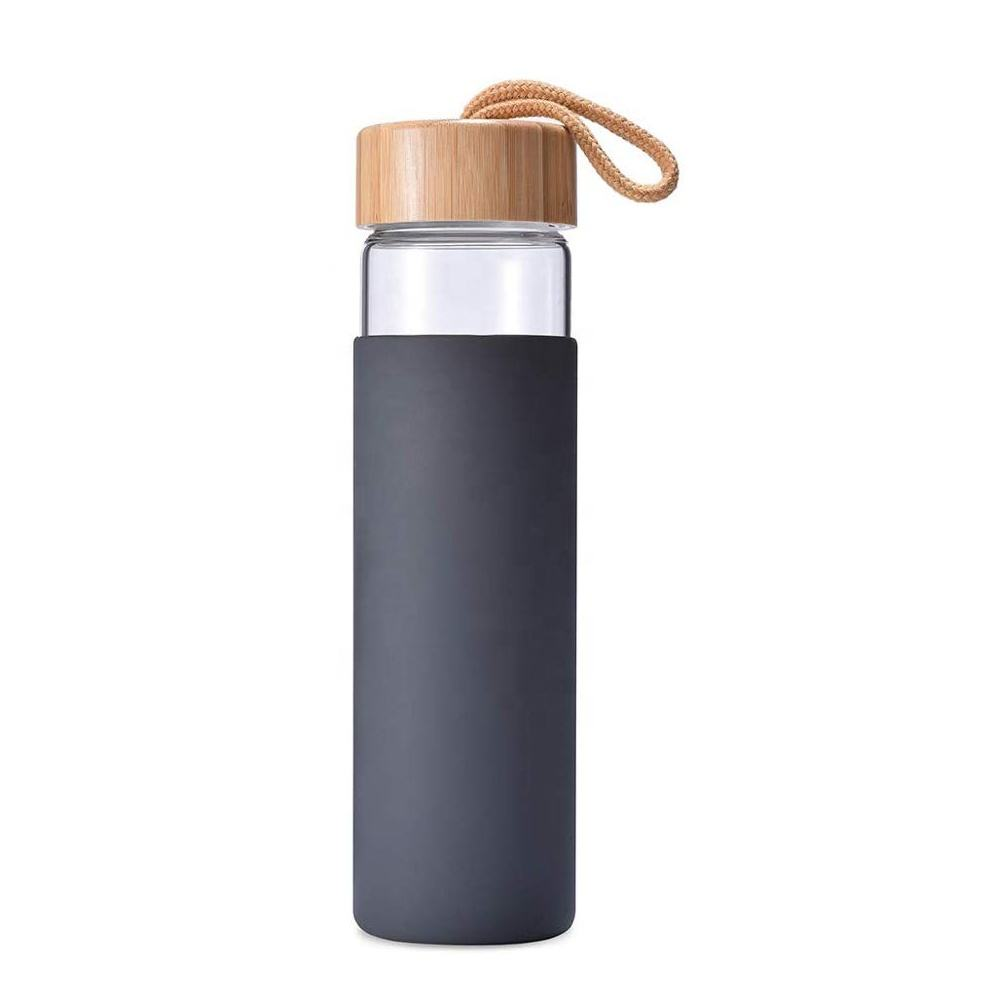 500ml BPA-free Drinking Insulated Glass Water Bottle with Silicone Sleeve Bamboo Lid
