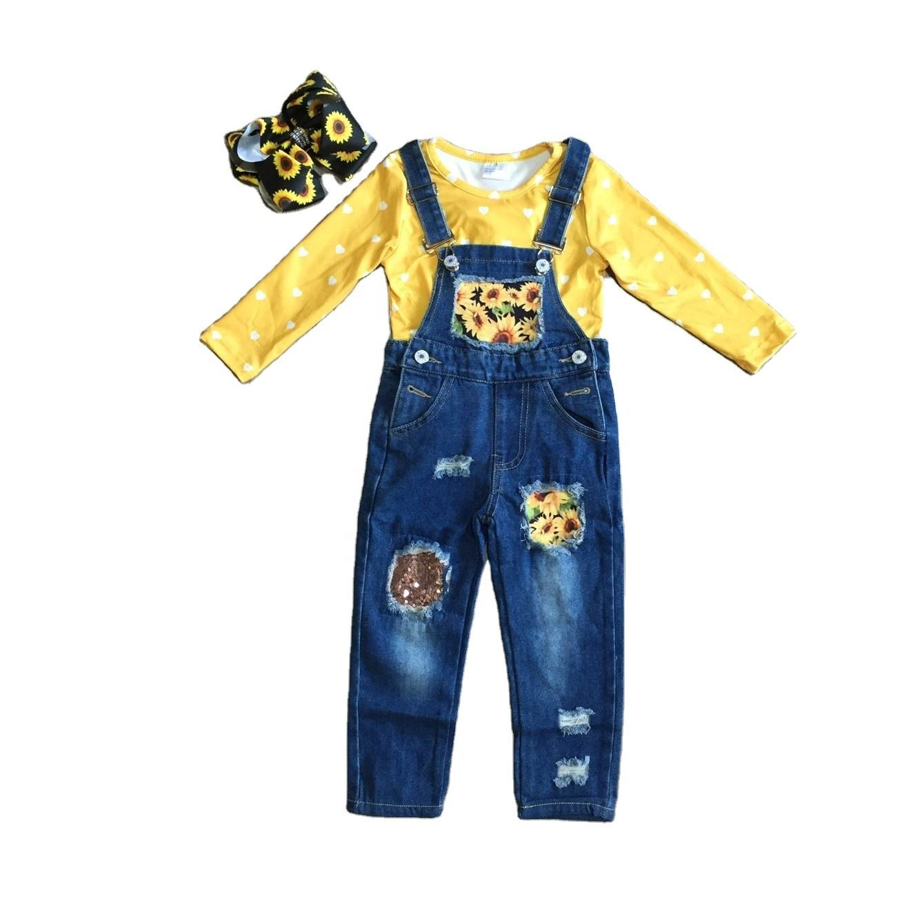 GirlyMax Winter Spring Girls Long Sleeve Yellow Top Denim Sunflower Overalls