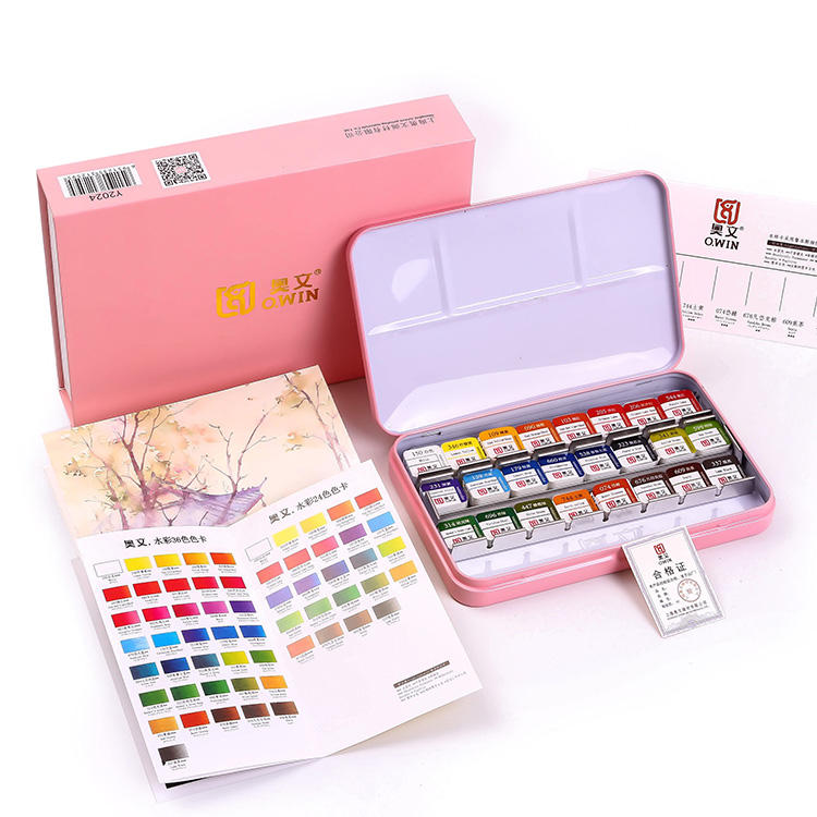 O.WIN Excellent Quality 24 Colors Pink Box Professional Art Painting Solid Watercolor Paint