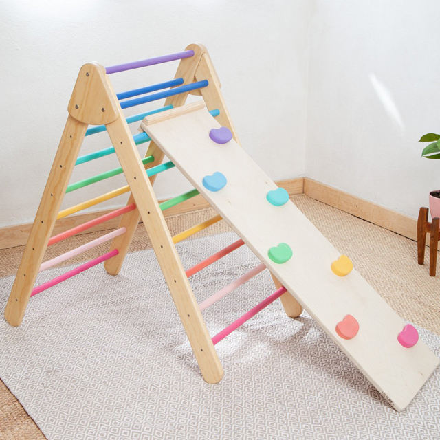 foldable pikler pickler triangle wooden kids climbing frame climbing rope ladder climb toy wooden playground indoor kids toys