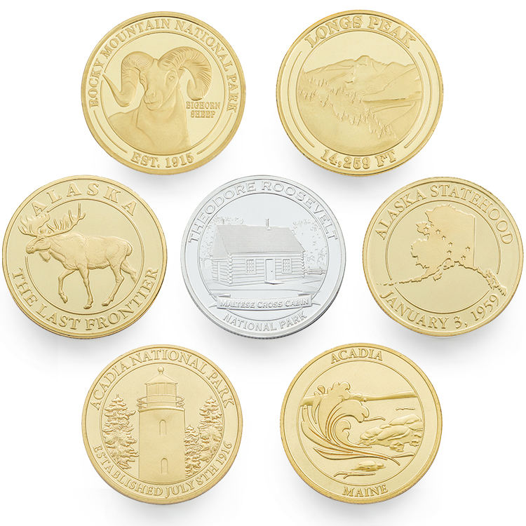 Custom Made Europe US Animal Zoo Collectible Souvenirs Gold Silver Plated Coin Collection Panda Coins