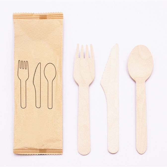 Changqing Manufacture Birch Wooden Disposable Wood Spoon Fork Knife With Tissue Paper Cutlery Set