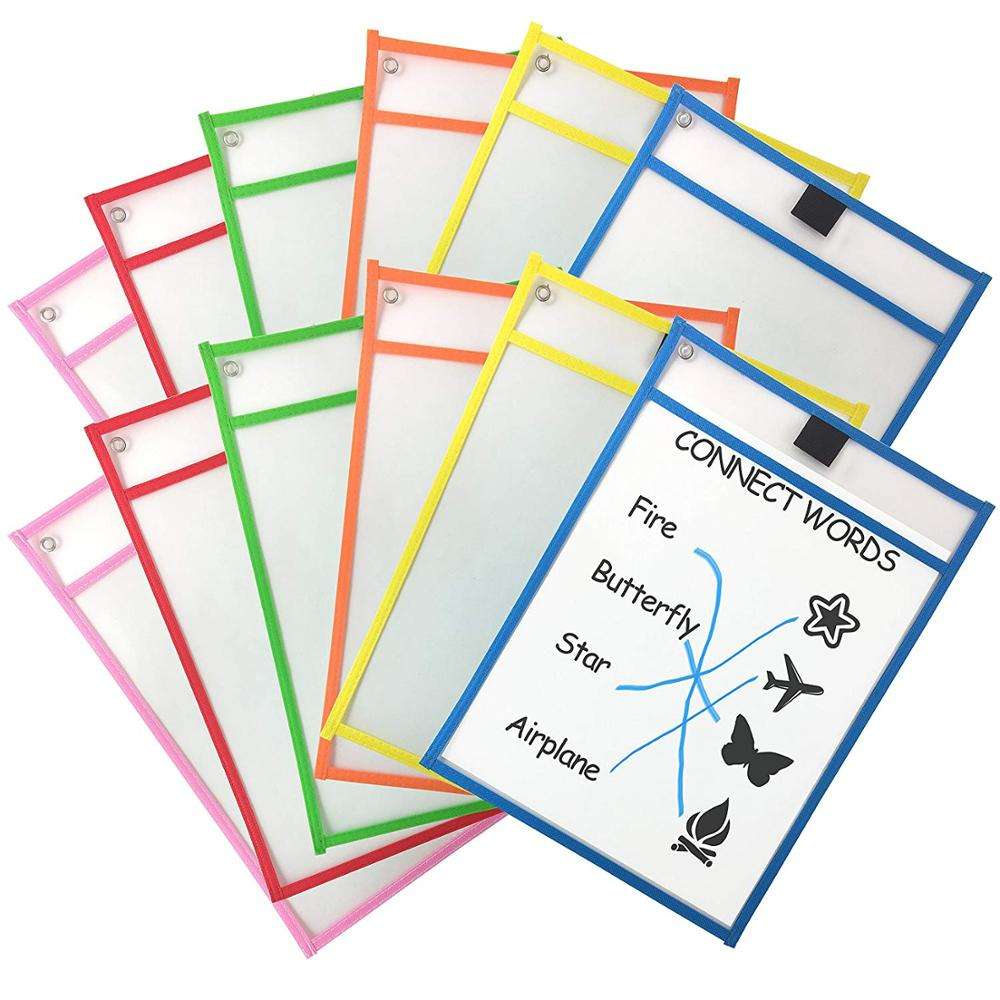 Assorted colors PVC or PET Reusable dry erase pocket sleeves