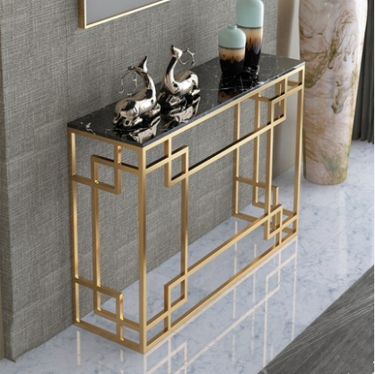 Home furniture living room rectangle side tables gold legs marble top entryway table console