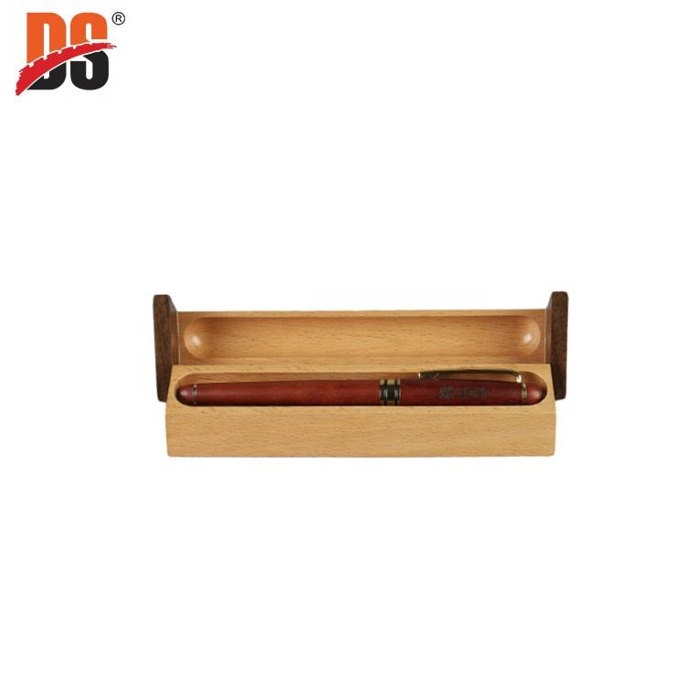 DS Triangle Wood Mosaic Rotating Wooden Display Pen Box For Gift