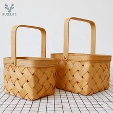 Wholesale Eco-Friendly Storage Picnic wicker Fruit vegetable bamboo bread Wooden woven rattan storage Basket
