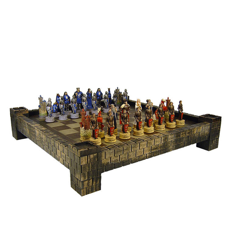 "Polyresin/Resin Medieval Times King Arthur / Sir Lancelot Camelot Knights Chess Set w/ 17"" Castle Board"
