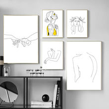 Women Line Drawing Nordic Poster&Prints Modern Canvas Painting Wall Art Yellow Girl Wall Picture
