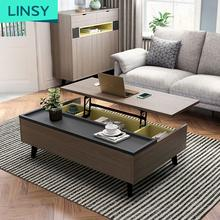 Nordic style multifunctional foldable lifting coffee table
